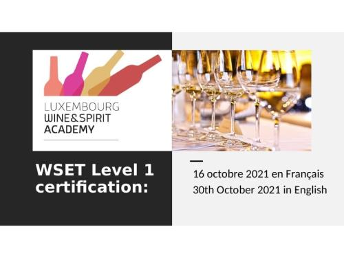 WSET Level 1 Certification: 30th October 2021 in English